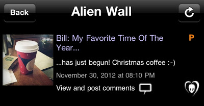 "BTK App UPDATE: Bill: ""My Favorite Time Of The Year…has just begun! Christmas coffee :-)"""