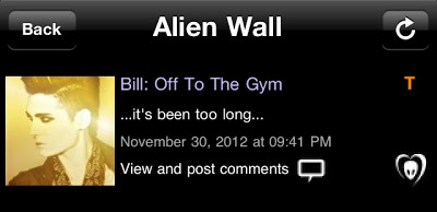 """BTK App UPDATE: Bill: """"Off To The Gym…it's been too long…."""""""