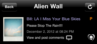 "BTK App UPDATE: Bill: ""LA I Miss Your Blue Skies! Please Stop The Rain!!!!"""