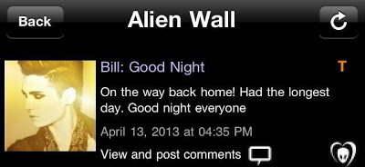"BTK App [TEXT] Update – Bill: ""Good Night. On the way back home! Had the longest day. Good night everyone"""